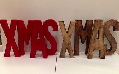 Wooden 'Xmas' Decorative Words in Red or Natural - Pre-Christmas SALE