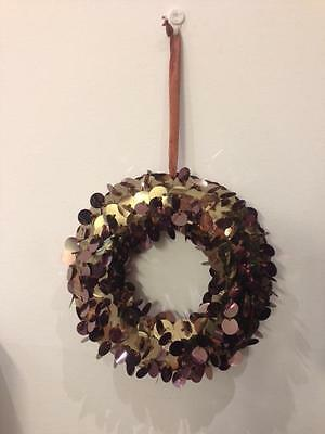 Christmas Wreath - Bronze Sequins - 25cm Diameter - CLEARANCE Christmas SALE
