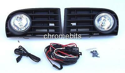 Fog Lights Lamps Grilles Set For Vw Golf 5 Mk5 2003-2009 & Wiring Kit A18 New
