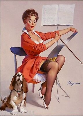 1940s Pin-Up Girl Basset Hound Puppy Dog Dogs Picture Poster Print Art