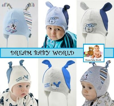 RICH Cotton boys hat spring 0 - 12 months TIE UP Infant KIDS BABY BOY New HATS