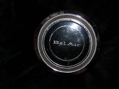 1966 Horn Button Chevy BelAir chrome plastic insert and rubber mount Chevrolet