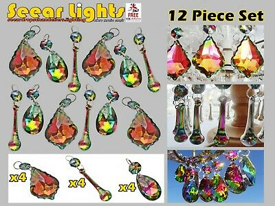 Colour Chandelier Icicles Ab Cut Glass Crystals Drops Prisms Droplets Beads X 10