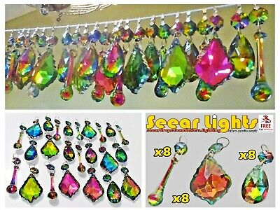 Gothic Crystals Chandelier Droplets Glass Colour Ab 25 Drops Prisms Beads Retro