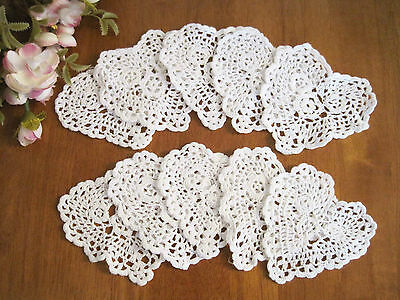 "TEN Chic Hand Crochet Heart Shape Cotton Doily White 4"" CL"