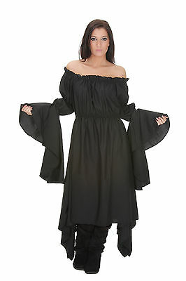 Long Sleeves Medieval Renaissance Gown Black Chemise One Size Fits Most