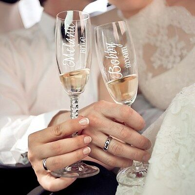Engraved Personalized Bride or Groom or Wedding Party Toasting Flutes