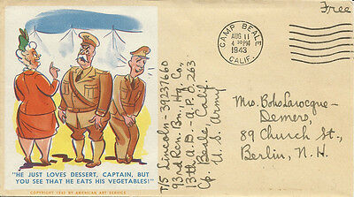 WWII - United States - Colorful Woman & Captain Patriotic Cover, 1943 *Nice* #12