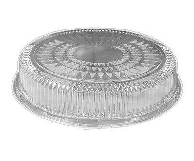 """Clear Plastic Dome Lid for 12"""" Round Aluminum Foil Catering Tray 50 Pack"""