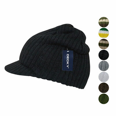 Decky GI Campus Jeep Beanies Striped Solid Skull Caps Hats with Visor Ski Winter