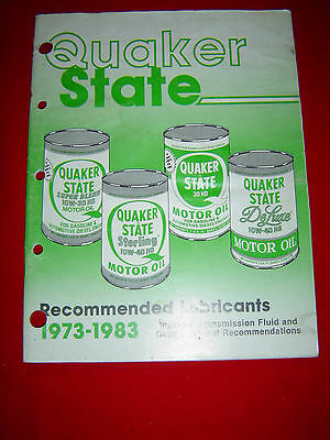 Vintage QUAKER STATE Recommended Lubricants 1973 - 1983