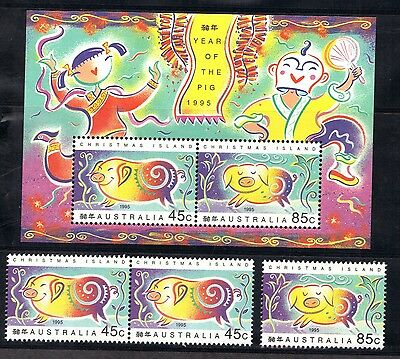 Stamps Australia  Christmas Island  1995 Year Of The Pig + Stamps (Mnh}