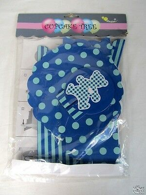 3 Tier Cupcake Tree Stand Blue & Lt Blue Cardboard Dotted Design Bear On Top