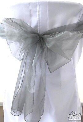 Grey Chair Bow Or Sash 6 Pieces/pack Ideal For Wedding Indoor Outdoor Party
