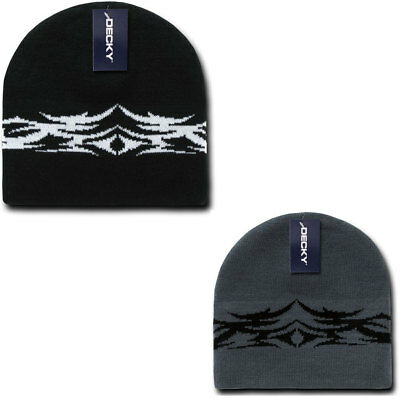 Decky Tribal Design Beanies Caps Hats Knitted Ski Skull Winter Black Charcoal