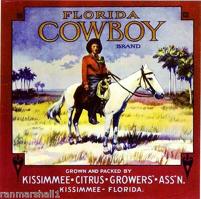 Kissimmee Florida Cowboy #2 Orange Citrus Fruit Crate Box Label Art Print