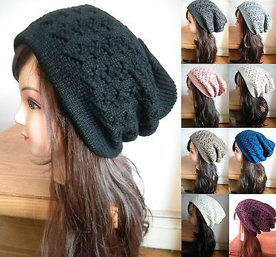 Unisex Men's Women's Knit Crochet Baggy Beanie Winter Hat Ski Slouchy Cap Skull