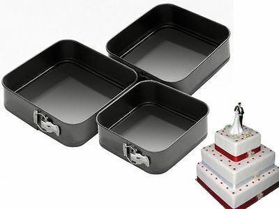 New 3Pc Non Stick Springform Cake Pan Baking Bake Square Tray Tins 22/24/26Cm