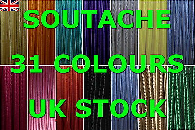 SOUTACHE BRAID CORD 3 MM WIDE 1 or 2 METERS 31 COLORS! - HIGH QUALITY - UK STOCK