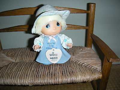 Precious Moments Doll 1988 Enesco Hi Babies You Are The Greatest Girl Blue Dress
