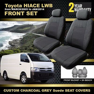 Custom Made SEAT COVERS for Toyota Hiace LWB KDH201R 03/2005-01/2014 CHARCOAL