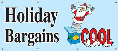 HOLIDAY BARGAINS BANNER SIGN 96in X 36in RETAIL STORE SALE SIGNS Multi Color