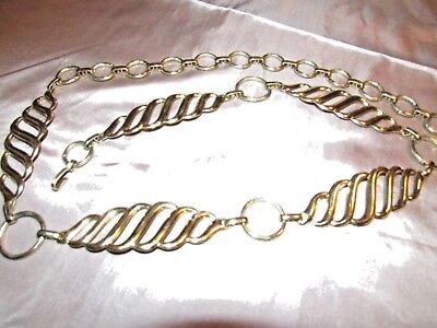 """Women's  Adjustable Large Link Chain Style Gold Tone Metal Belt 38"""""""