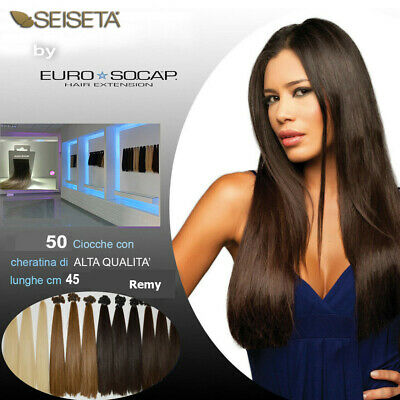 EURO SO.CAP HAIR EXTENSION 50 a 100 CIOCCHE CHERATINA lunghe 45 a 55 cm REMY