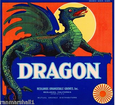 Redlands San Bernardino County Dragon Orange Citrus Fruit Crate Label Art Print