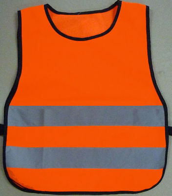 Orange Child Safety Reflective Sport Bib Vest Tabard Children Jacket HiViz S M L