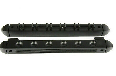 2 Piece BLACK Wood Pool/Snooker Tables 6 Clpis Wall Rack/Holder For 6 Cues/Rests