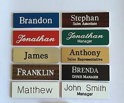 (3) 1X3 Employee Personalized Name Tag Badge Customized Identification Engraved