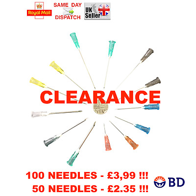+10% FREE !!! 50x 100x BD NEEDLES STERILE CYCLE REFILL INK 23G BLUE 21G GREEN