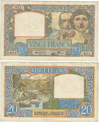 Occupation Banque France billet 20 Francs Science Travail 1941 french bank note