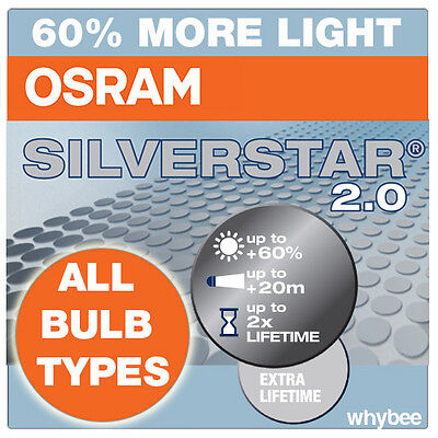 OSRAM SILVERSTAR 2.0 BULBS 60% MORE LIGHT! AVAILABLE in H1 HS1 H4 H7 BULB TYPES