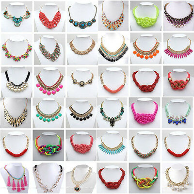 Statement Jewelled lady Chunky Necklace Chain Link Bib Choker Collar Multi Color
