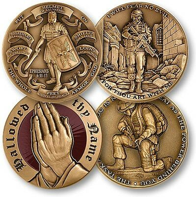 4 Christian Religious Challenge Coin Set Leatherette Box Military Psalm Prayer