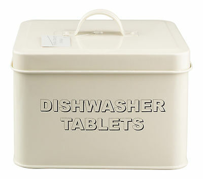 Vintage / Retro Style Metal Cream Dishwasher Tablets Tin Storage Box With Lid