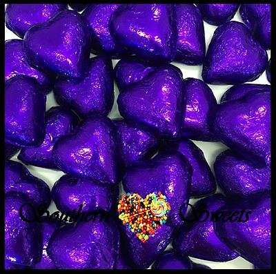 1Kg Purple Foiled Hearts Milk Chocolate Choc Candy Buffet Purple Lollies