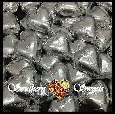 1Kg Silver Foiled Hearts Milk Chocolate Choc Candy Buffet Lollies
