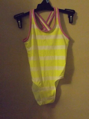 Old Navy bright yellow striped swim suit  12-18 mons beach wear purple accents