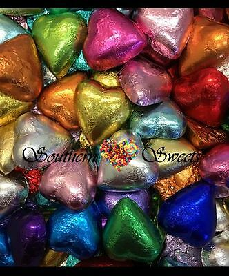 1Kg Milk Chocolate Foiled Hearts Mixed Colours Heart Choc Lollies Made In Aust.