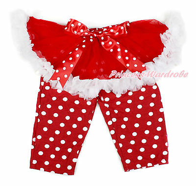 XMAS Red White Tutu Minnie Legging Tight Match Bow Dress Pettiskirt Pant 1-7Y