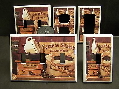 VINTAGE COFFEE GRINDER RISE AND SHINE KITCHEN LIGHT SWITCH OR OUTLET COVER V425
