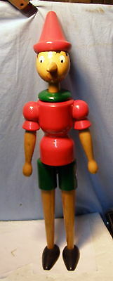 ** RARE - Vintage 23 inch tall -- PINOCCHIO - Italy WOODEN w MOVEABLE PARTS