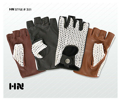 Men's Leather Driving Gloves Hand Knitted Cotton Crochet Vintage Retro Heritage
