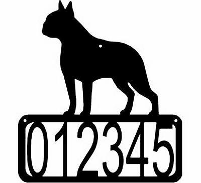 BOSTON TERRIER Dog CUSTOM Personalized ADDRESS House Number Sign Made USA