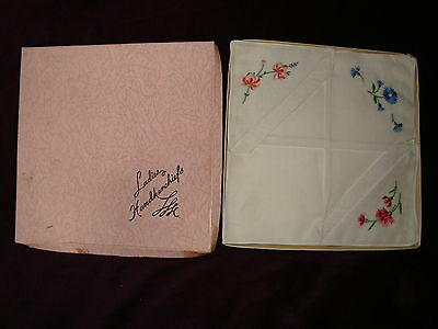 2 Ladies Handkerchiefs with embroidered flowers