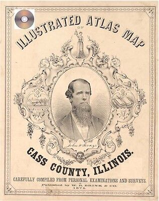 Cass County Illinois 1874 Atlas Genealogy history IL land owners