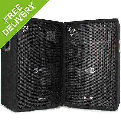 "Pair Skytec 12"" Inch 2 Way Passive DJ PA Disco Party Speakers 1200W"